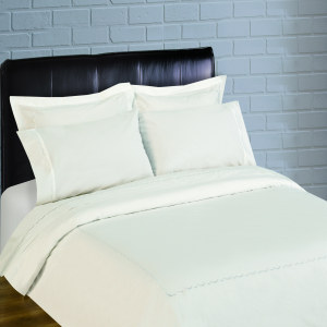 300 Thread Count Scallop Embroidery Percale Duvet Set - white