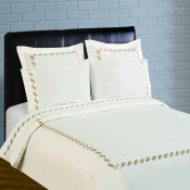 300 Thread Count Scroll Embroidery Percale Duvet Set - Taupe