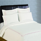 300 Thread Count Scroll Embroidery Percale Sheet Set - Rose