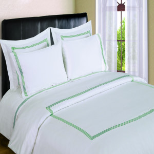 300 Thread Count Sheet Sets  3 line Merrow Embroidery - Sage