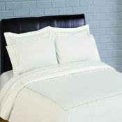 300 Thread Count Scallop Embroidery Percale Duvet Set - sage