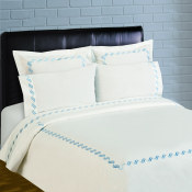 300 Thread Count Scroll Embroidery Percale Sheet Set - Blue