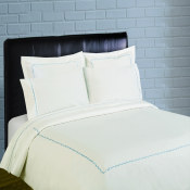 300 Thread Count Scallop Embroidery Percale Sheet Set - blue