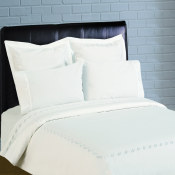300 Thread Count Scroll Embroidery Percale Duvet Set - White